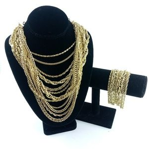 Multi Strand Gold Necklace and Bracelet Set